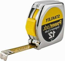 """Stanley 12' x 1/2"""" Yellow Blade Tape Measure 1/16 & 1/10"""" Gr"""