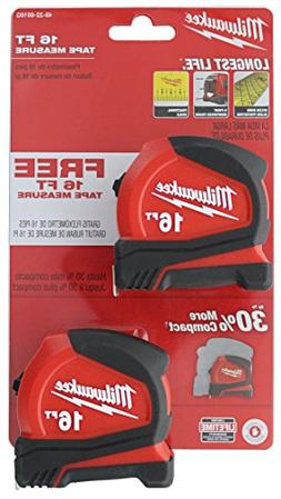 Milwaukee 48-22-6616G 2-Pack of 16' Compact Tape Measures