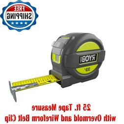 25 Foot Tape Measure with Overmold and Wireform Belt Clip, N