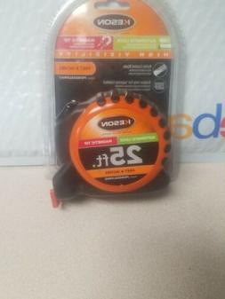 KESON 25ft Tape Measure - High Vis, Auto Lock, Magnetic Tip,