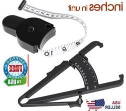 2pc Body Fat Caliper & Mass Measuring Tape Tester Skinfold F