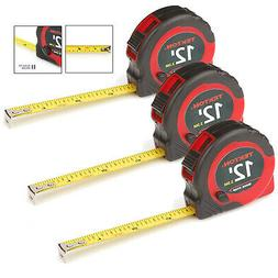 3 Pack 12 Ft Tape Measure 1/2 Inch Wide Measuring Impact Res