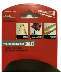 Milwaukee 48-22-0425 25 ft Compact Wide Blade Tape Measure w