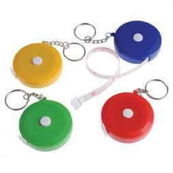 Dozen Assorted Color Mini Tape Measure Key Chains Key Rings