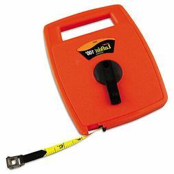 Hi-Viz Linear Measuring Tape Measure, 1/2in x 100ft, Orange,