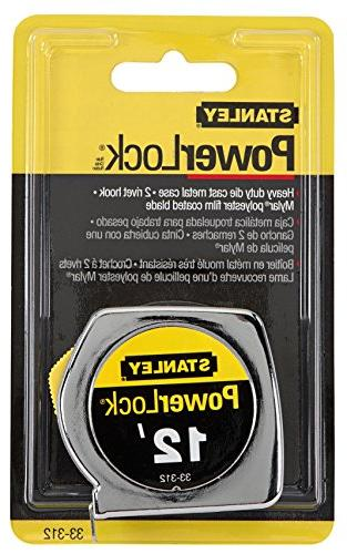 Stanley Tape Rule, 3/4 x 12ft, Metal Case, Yellow, 1/32