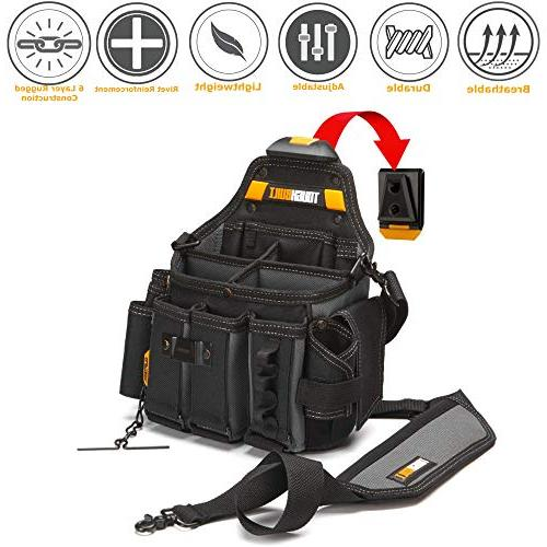 ToughBuilt Pouch + Shoulder Adjustable Pockets, 25 and Loops, Tape Measure Clip
