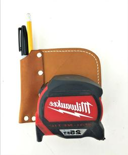 Leather Tape Measure Holder with Belt Clip and Pencil Pocket