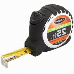 KESON PG181025AL Tape Measure, 1 In x 25 ft, Chrome/Black