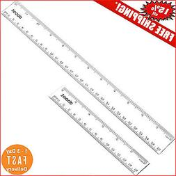 eBoot Plastic Ruler Straight Measuring Tool 12 Inches and 6