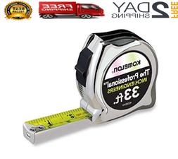 Professional Chrome Inch/Engineers Tape Measure 33-feet by 1