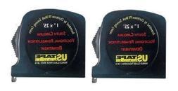 "US TAPE Tape Measure 25' x 1"" 2-Pack Set Classic Series USA"