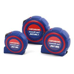 WORKPRO W002400A 3-piece Tape Measure Set, Metric and SAE Qu
